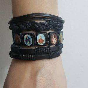 Other - 3 pc black leather Religious bracelet set